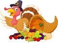 Cartoon turkey with horn of plenty isolated on white background Royalty Free Stock Photo
