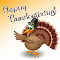 Cartoon turkey with pilgrims hat and thanksgiving sticker Stock Photos