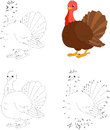 Cartoon turkey. Vector illustration. Dot to dot game for kids