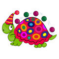 Cartoon turtle with balls in circus  image Royalty Free Stock Photo