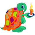 Cartoon turtle with candle Royalty Free Stock Photos