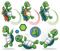 Cartoon turtle character set a of characters that fly with a rocket on back jumping falling on back Royalty Free Stock Image