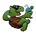 Cartoon turtle drinking cocktail ector illustration Stock Photo