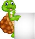 Cartoon turtle holding blank sign