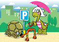 Cartoon turtle the illustration shows a funny tortoise she parked in the parking lot its shell as a means of transportation Stock Image