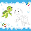 Cartoon turtle isolated on white coloring book vector illustration Stock Image