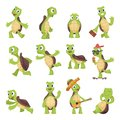 Cartoon turtles. Happy funny animals running tortoise vector collection Royalty Free Stock Photo