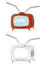Cartoon tv coloring page with an old on a white background Stock Photos