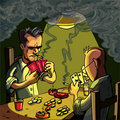 Cartoon of two men playing cards Royalty Free Stock Images