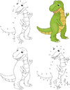 Cartoon tyrannosaur. Coloring book and dot to dot game for kids Royalty Free Stock Photo