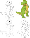 Cartoon tyrannosaur. Vector illustration. Dot to dot game for kids Royalty Free Stock Photo
