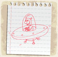 Cartoon ufo  on paper note, vector illustration Royalty Free Stock Photo