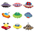 Cartoon ufo spaceship icon set Royalty Free Stock Images