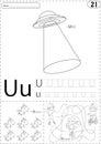 Cartoon UFO, unicorn and boy on the unicycle. Alphabet tracing w Royalty Free Stock Photo
