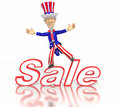 Cartoon Uncle Sam standing on sale text Stock Photo
