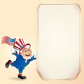 Cartoon uncle sam with usa flag vector background for fourth of july celebration Stock Images