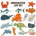 Cartoon underwater animals set vector Royalty Free Stock Photo