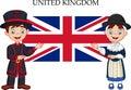 Cartoon United Kingdom couple wearing traditional costume