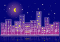 Cartoon urban night with gradients Stock Photography