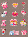 Cartoon Valentine's Day stickers Stock Images