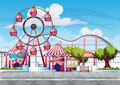 Cartoon vector amusement park with separated layers for game and animation