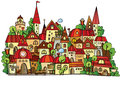 Cartoon vector construction town illustration of fantasy fairy tale drawing Royalty Free Stock Photo