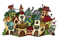 Cartoon vector fairy tale drawing town illustration of fantasy Stock Photography