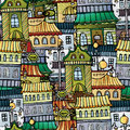 Cartoon vector fairy tale drawing town seamless pattern Royalty Free Stock Photos