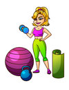 Cartoon vector girl with ball, dumbbells, sportswear.