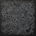Cartoon vector hand drawn cinema doodle sketchy chalkboard design background with objects and symbols Stock Photos