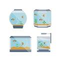 Cartoon vector home aquarium illustration with water, plant.