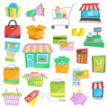 Cartoon vector icons for sales and shopping