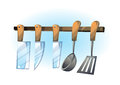 Cartoon vector illustration cartoon knife Kitchenware objects Royalty Free Stock Photo