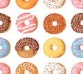 Cartoon vector illustration donuts. Hand drawn seamless pattern sweet bun. Actual Creative art work bake background