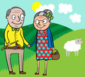Cartoon vector illustration happy old couple celebrate easter Royalty Free Stock Image