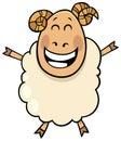 Happy ram farm animal cartoon character Royalty Free Stock Photo