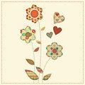 Cartoon vector illustration in a patchwork style flowers decor flower bouquet decorated by hearts cute with dark seams desaturated Stock Photography