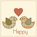 Cartoon vector illustration in a patchwork style two enamored birds with heart cute with dark seams desaturated vintage colors Stock Photography