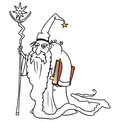 Cartoon Vector Medieval Fantasy Wizard Sorcerer or Royal Adviser Royalty Free Stock Photo
