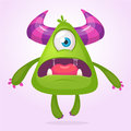 Cartoon vector monster. Monster alien illustration with surprised expression. Shocking green alien design for Halloween. Royalty Free Stock Photo