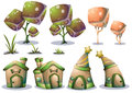 Cartoon vector nature landscape object with separated layers for game art and animation game design asset