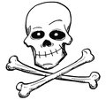 Cartoon Vector of Poison or Pirate Sign of Skull and Bones Royalty Free Stock Photo