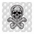 Cartoon vector skull hand drawn eps Royalty Free Stock Image