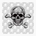 Cartoon vector skull hand drawn eps Stock Photo