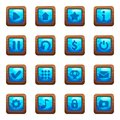 Blue square buttons in wooden frame cartoon vector set Royalty Free Stock Photo