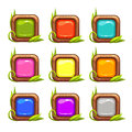 Cartoon vector square buttons set Royalty Free Stock Photo