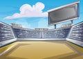 Cartoon vector Stadium Background Score Board Empty Field