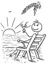Cartoon Vector Stick Man Relaxing Sitting on the Beach Chair Watching Sunset with Drink Royalty Free Stock Photo