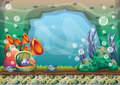 Cartoon vector underwater background with separated layers for game art and animation Royalty Free Stock Photo
