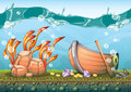 Cartoon vector underwater treasure background with separated layers for game art and animation game